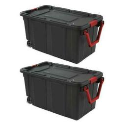 Wheeled Tote Plastic Storage Container Box 40 Gal 2 Pack Org