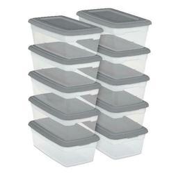 40 PACK 6 Quart Storage Box Shoe Container Sterilite Clear S