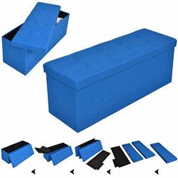 "43"" Folding Ottoman Bench Storage Stool Box Footrest Furnitu"