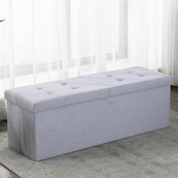 "44.8 "" L Folding Storage Ottoman Bench Fabric Box Chest Foot"