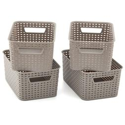 4pc Small Gray Plastic Knit Baskets Shelf Storage Container