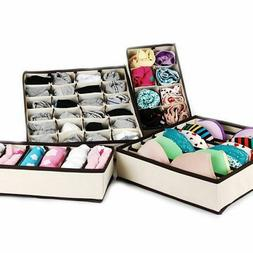 4pcs Bra Ties Underwear Socks Organizer Home Storage Box Fol