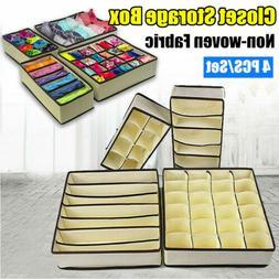 4Pcs Closet Underwear Storage Box Organizer Drawer Divider F