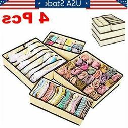 4Pcs Foldable Closet Organizer Box Underwear Bra Socks Stora