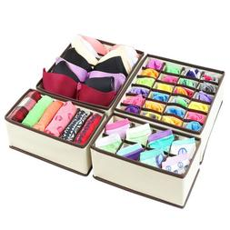 4PCS Foldable Organizer Drawer Storage Box Case For Bra Ties