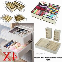 4PCS Foldable Storage Cube Storage Box Fabric Bra Socks Toy