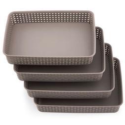 4pcs Large Gray Plastic Knit Storage Basket Trays Drawer Div