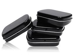 4pcs Metal Hinged Lid Tin Containers Portable Storage Empty
