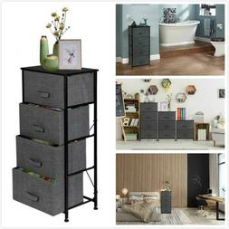 4Tier Fabric Chest of Drawers Cabinet Bedside Table Nightsta
