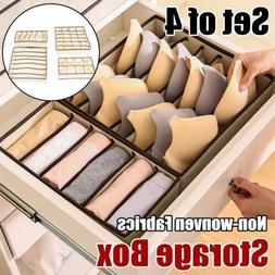 4X Foldable Storage Box Case For Bra Ties Underwear Socks Or
