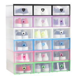 5/8/20pc Foldable Plastic Transparent Shoe Storage Clear Box