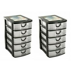5 drawer plastic desktop office bin storage