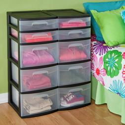 5 Drawer Tower Plastic Organizer Home Cabinet Office Storage