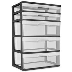 Sterilite Organizer Storage Cabinet 5 Drawer Wide Tower Plas