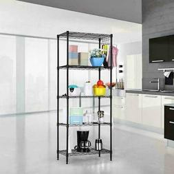 5-Tier Wire Shelving Unit Adjustable Metal Shelf Rack Kitche