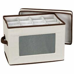 Household Essentials 544 Stemware Storage Box with Lid and H