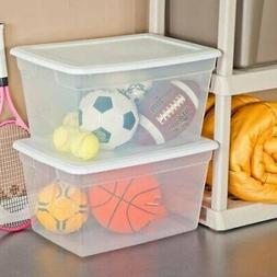 Sterilite 58 Quart See Through Plastic Storage Box with Lid,