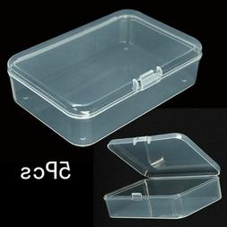 5Pcs Small Plastic Clear Transparent Container Case Storage