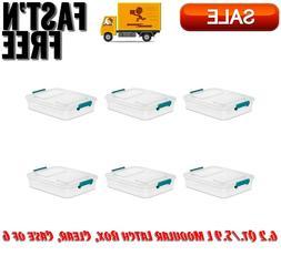6.2 Qt./5.9 L Modular Latch Box, Clear, Case of 6, Home Stor