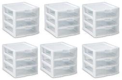 6) Sterilite 20738006 Small Compact Countertop 3 Drawer Desk