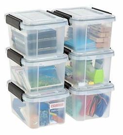 IRIS 6.5 Quart WEATHERTIGHT Storage Box, 6 Pack, Clear