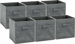 6 Pack - SimpleHouseware Foldable Cube Storage Bin, Dark Gre