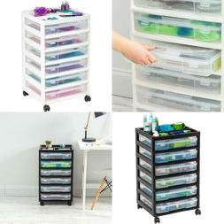 6-Drawer Scrapbook Cart with Organizer Top, White Or Black