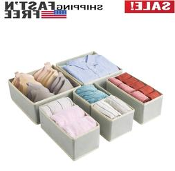 6 Pack Foldable Drawer Organizer, Cloth Storage Box, Closet