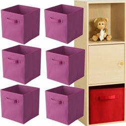 6 Pack Foldable Storage Cubes Collapsible Fabric Bins Shelf