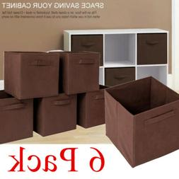 6 Pack Foldable Storage Cubes Collapsible Fabric Bins Organi