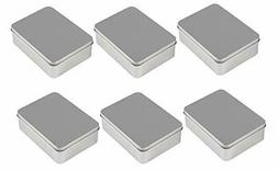 6-Pack Rectangular Tin Box with Lid, Storage Container for T