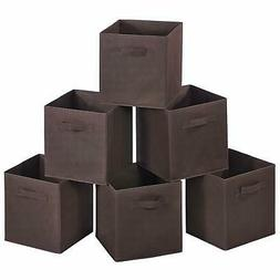 6 PCS Brown Home Storage Bins Organizer Fabric Cube Box Bask