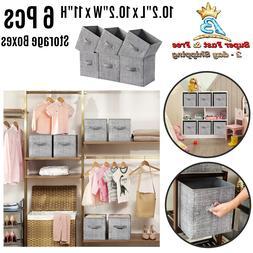 6 Pcs Foldable Collapsible Fabric Basket Bin Storage Organiz