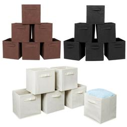 6 Pcs Home Fabric Storage Box Closet Organizer Cube Bins Bas