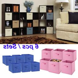 6PCS Foldable Fabric Storage Bins Set of 6 Cubby Cubes with