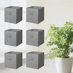 "11"" 6PCS Home Storage Bins Organizer Fabric Cube Basket Draw"