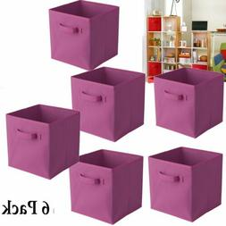 6 pcs Home Storage Box Household Organizer Fabric Cube Bin B