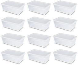 Sterilite 6 Quart Clear Stacking Closet Storage Box with Whi