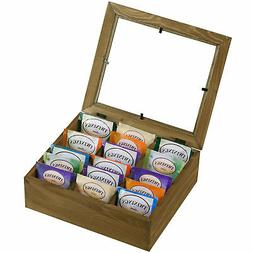 6 Slot Natural Wooden Tea Bag Box Storage Display Chest with