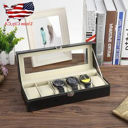 6 Slots Suede Leather Top Glass Watch Display Box Storage Ho