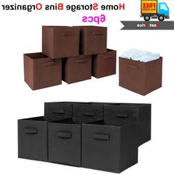 6 x Storage Bins Organizer Home Fabric Cube Boxes Basket Dra
