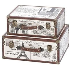 Aspire 62248 Paris Decorative Suitcase Trunks Set of 2