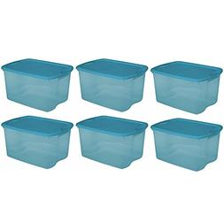 Sterilite 64 Quart Double Latching Blue Plastic Storage Box
