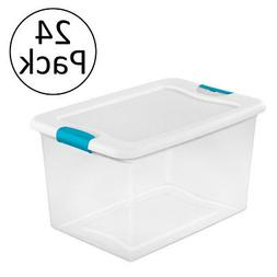 Sterilite 64 Quart Latching Plastic Storage Box, Clear w/ Bl