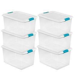 Sterilite 64 Quart Clear Plastic Storage Boxes Bins Totes w/