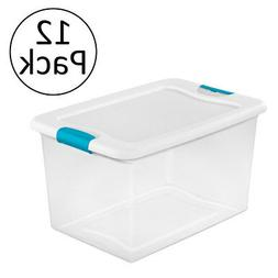 Sterilite 64 Quart Latching Plastic Storage Box, Clear w/Blu