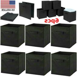 6pcs Foldable Storage Box Cube Bins Fabric Basket Box Drawer