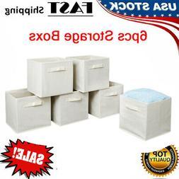 6PCS Foldable Storage Cube Basket Shelf Collapsible Boxes Bi