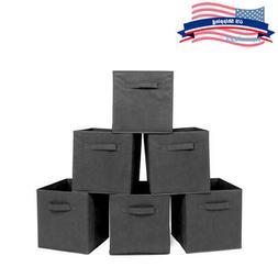 6pcs Folding Square Storage Utility Box Fabric Cube Drawer O