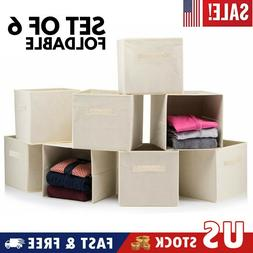 6PCS Storage Bin Closet Toy Box Container Organizer Home Fab